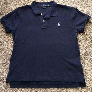 Women's Polo Navy Blue with White Pony